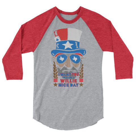 Willie Nelson July 4th 3/4 Sleeve Raglan Shirt