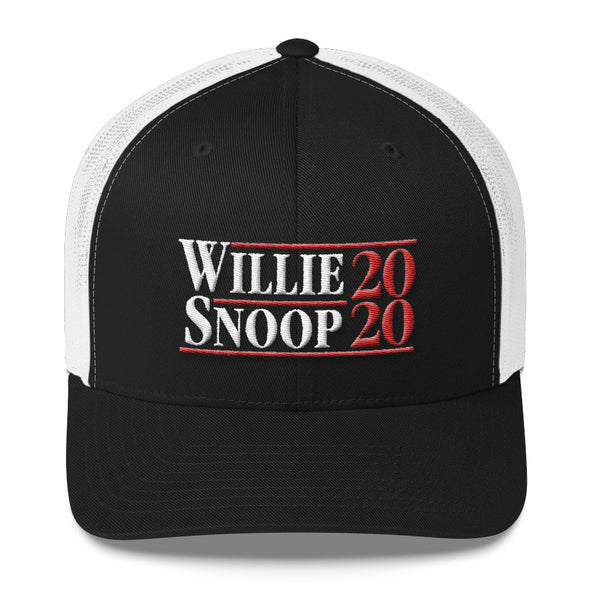 Vote Willie Nelson and Snoop Dogg 2020 Presidential Inspired Trucker Cap - ATX HUMOR