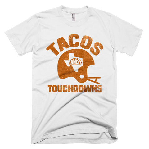 Tacos, Texas, and Touchdowns (Orange) Men's Shirt - ATX HUMOR