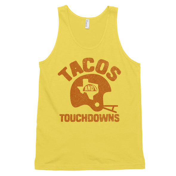 Tacos, Texas, and Touchdowns (Orange) Classic Tank - ATX HUMOR