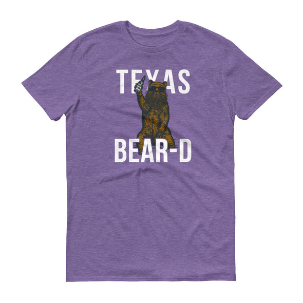 Texas Grizzly Bear with a Beer and a Beard - Unisex Texas T-Shirt - ATX HUMOR
