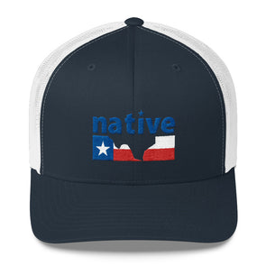 Native Texan Texas Flag Six-Panel Trucker Snapback Cap - ATX HUMOR