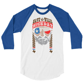 Have A Willie Nice Day Lone Star - Willie Nelson Inspired - 3/4 Sleeve Raglan T-Shirt - ATX HUMOR