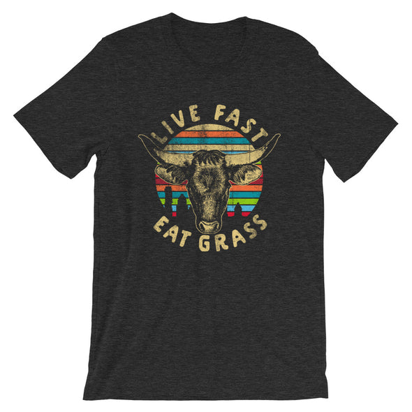 Live Fast Eat Grass - Longhorn Cow - Unisex T-Shirt - ATX HUMOR