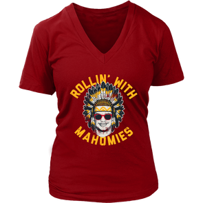 Rollin' With Mahomies - Patrick Mahomes Chiefs Inspired - Womens V-Neck T-Shirt - ATX HUMOR