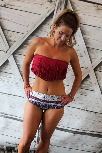 Sicily Cherry Red Fringe Bikini Top with Floral Bottoms