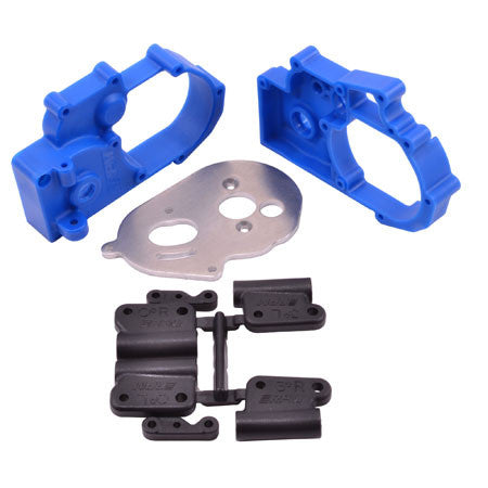 RPM Gearbox Housing and R Mounts,Blue:TRA 2WD Vehicles | RC Overstock