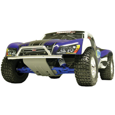 RPM Front Bumper and Skid Plate, Chrome/Gray: Slash | RC Overstock