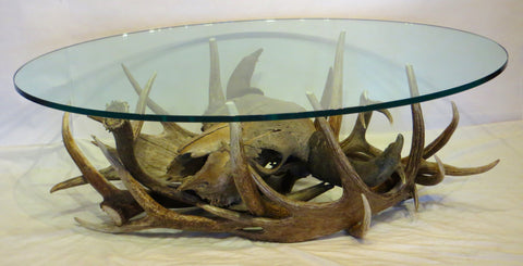 Antiqued Buffalo Skull and Antler Coffee Table