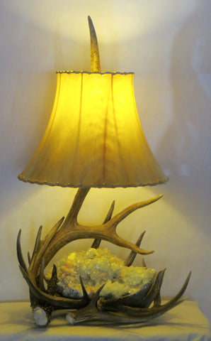 Antler and Apophyllite Table Lamp