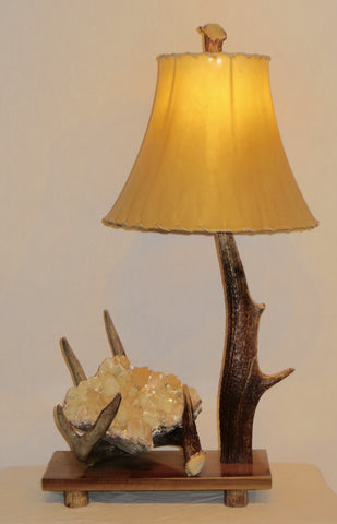 Elk & Deer Antler, Apophyllite Table Lamp