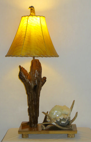 Driftwood, Antler and Apophyllite Table Lamp