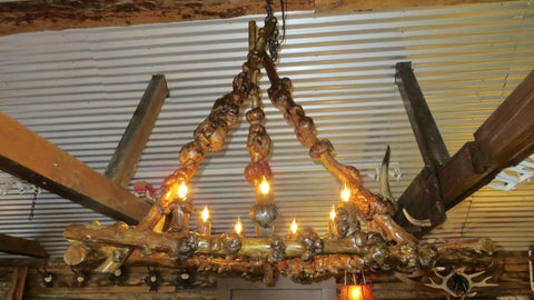 Knobbled Pine Burl Chandelier