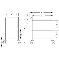 "3-Tier Stainless Steel Utility Cart, 1"" Tubular,  - eKitchenary"