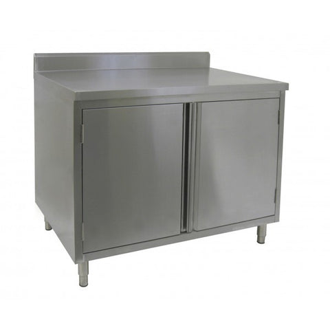 "Stainless Steel 4"" Rear Upturn Enclosed Work Tables (Hinged Doors)"