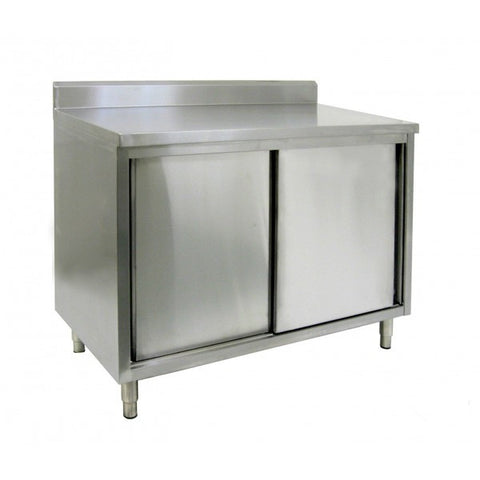 "Stainless Steel 4"" Rear Upturn Enclosed Work Tables (Sliding Doors)"