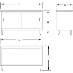 Stainless Steel Flat Top Enclosed Work Tables (Sliding Doors)