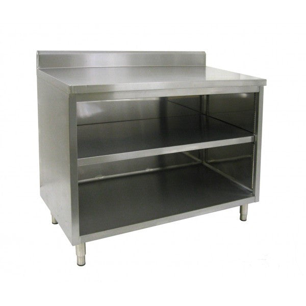 "Stainless Steel 4"" Rear Upturn Enclosed Work Tables (No Doors)"