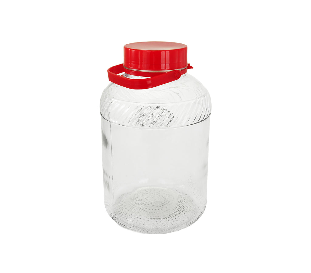 Glass Jar with Plastic Lid and Handle