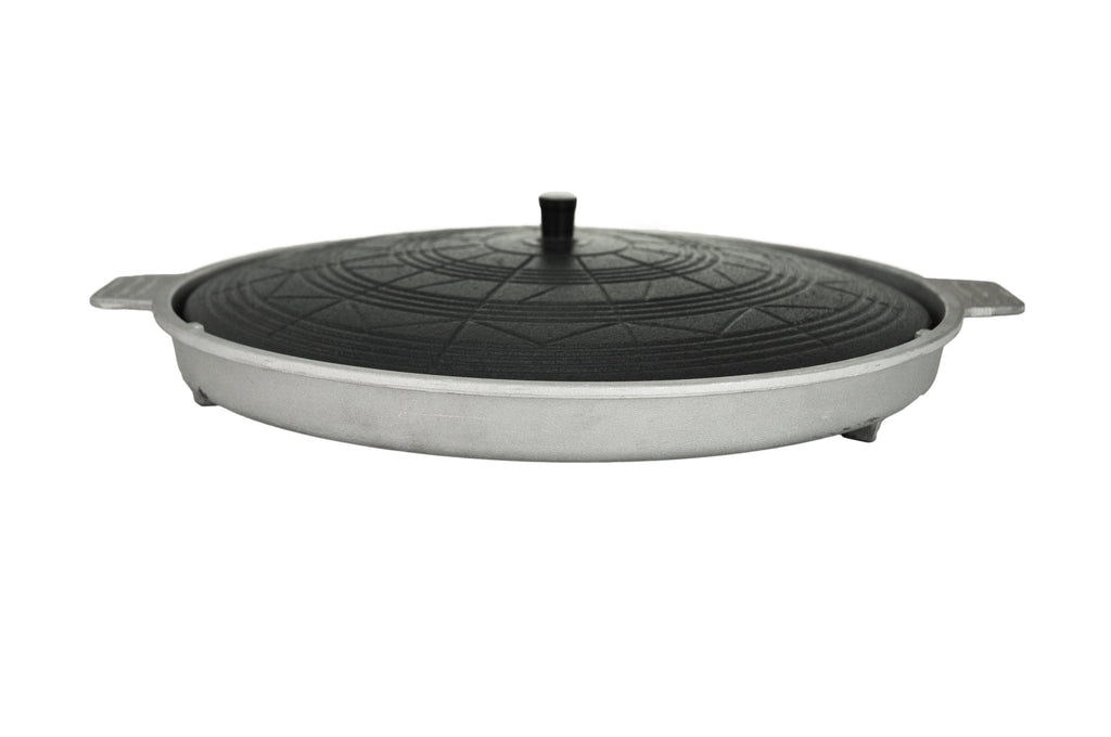 Traditional Korean Iron Lid Grill Plate with Base, So Tukung (소뚜껑),  - eKitchenary