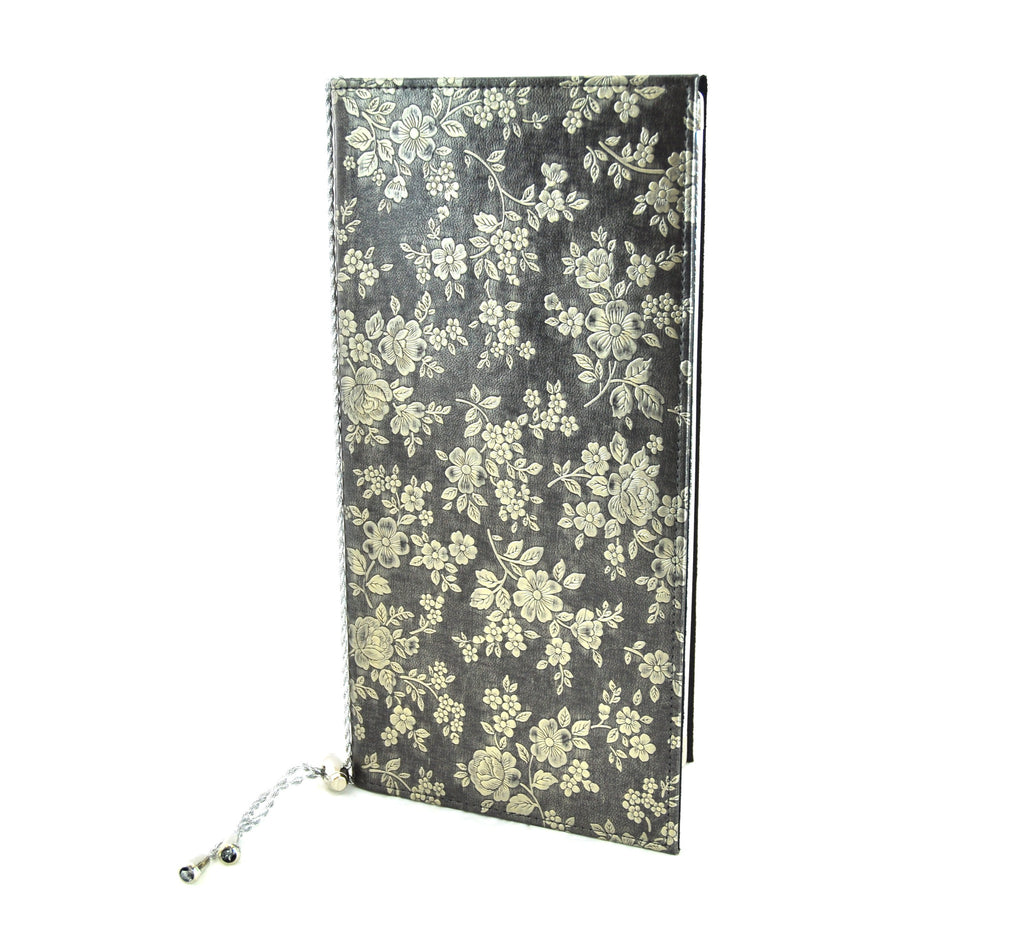 Menu Book with Leather Texture, Gold Floral, Tabletop - eKitchenary