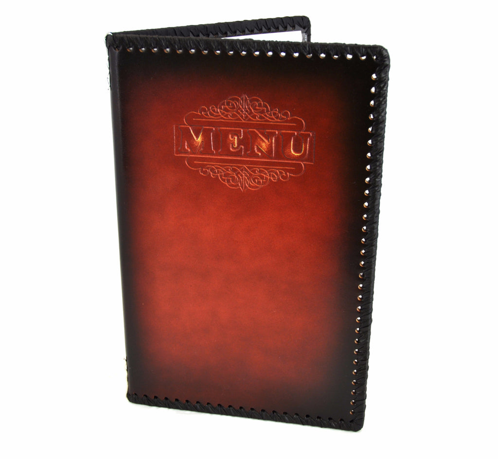 Menu Book with Leather Texture, Antique, Tabletop - eKitchenary