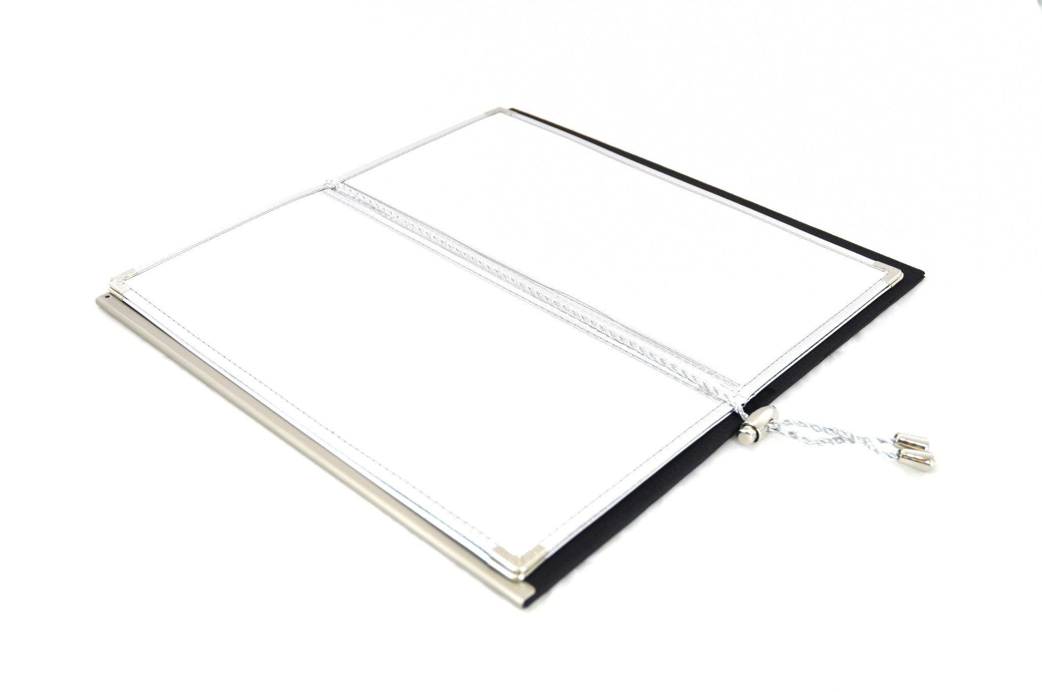 Menu Book with Leather Texture, Black, Tabletop - eKitchenary