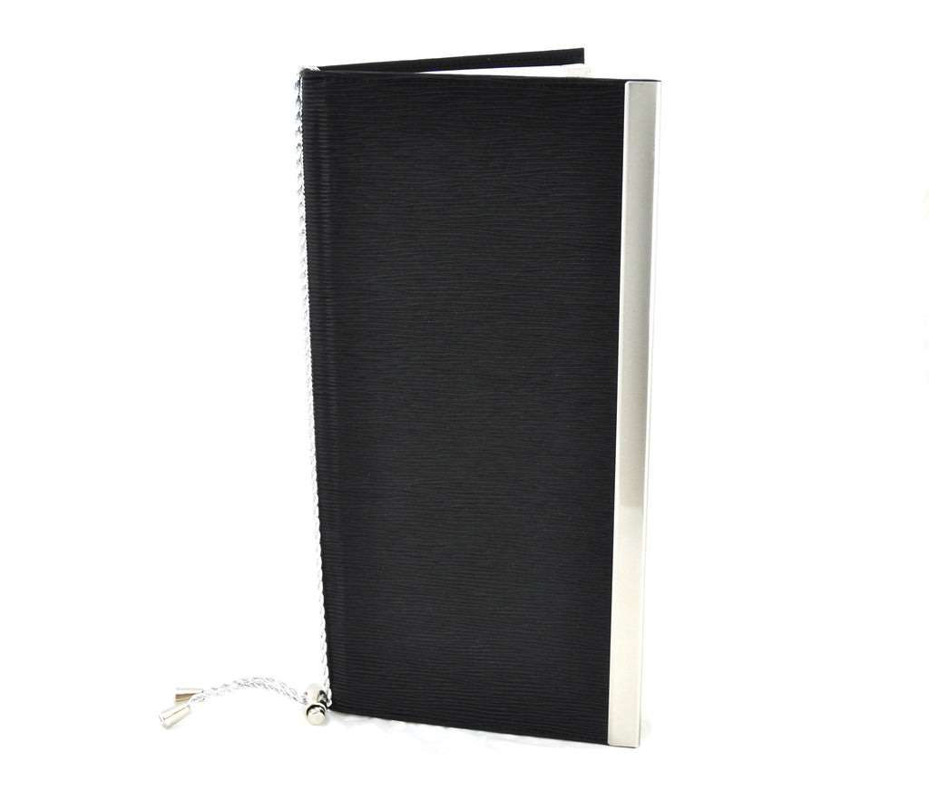 Menu Book with Leather Texture, Black