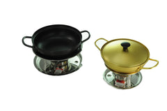 Nickel Plated Yellow Aluminum Korean Pot with Lid 양은 냄비 (Case-10pcs)