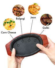 Korean Cast Iron Barbecue Sizzling Plate, Oval 타원 무쇠 판
