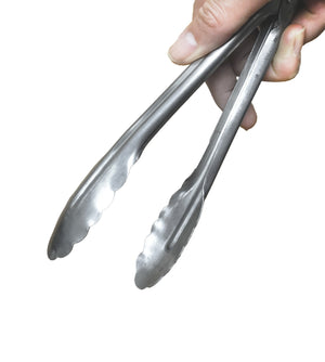 Stainless Steel Coiled Spring Utility Tong, Scalloped Edge, Kitchen Tools - eKitchenary