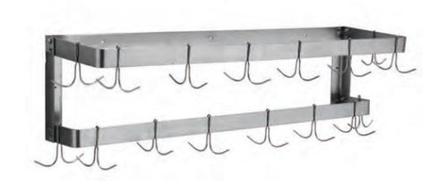 Stainless Steel Double Wall Mount Pot Rack,  - eKitchenary