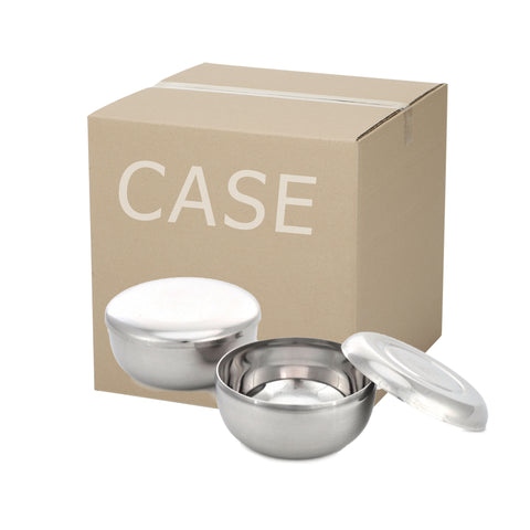 Stainless Steel Rice Bowl with Lid (Case-10pcs), Stainless Steel - eKitchenary