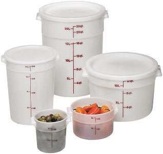 Cambro Round Poly White Container (Case), Food Container - eKitchenary