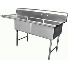 Two Tub Compartment Sink w/ Left Drain Board, Equipment - eKitchenary
