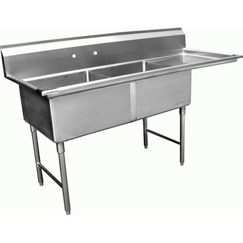 Two Tub Compartment Sink w/ Right Drain Board, Equipment - eKitchenary
