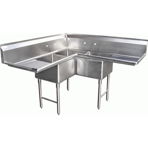 Three Tub Compartment Corner Sink w/ 2 Drain Boards, Equipment - eKitchenary