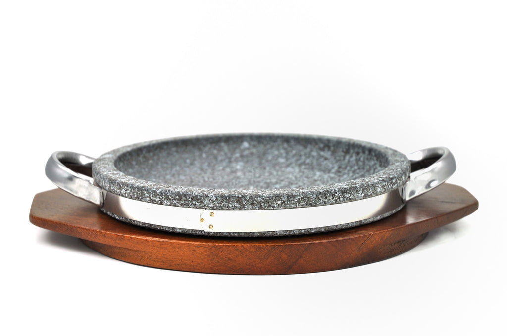 Korean Stone Grill Pan with Handles, Dolpan 돌판, Stone - eKitchenary