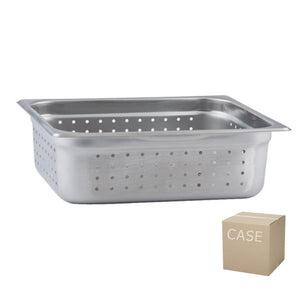 Thunder Group Stainless Steel Steam, Food, and Hotel Pan 1/2 Size Perforated (Case), Stainless Steel - eKitchenary
