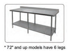 "4"" Rear Upturn All Stainless Steel Work Tables, Equipment - eKitchenary"