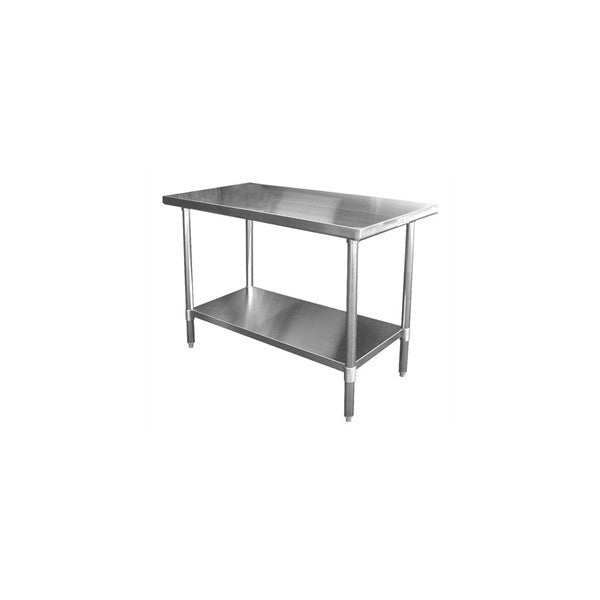 Flat Top Stainless Steel Work Table (18 Gauge) [Galv. Undershelf & Legs]