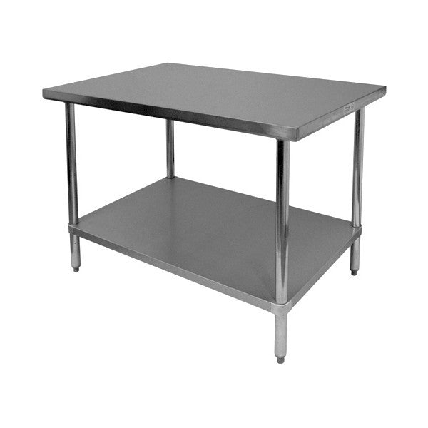 Flat Top Stainless Steel Work Table (16 Gauge) [Galv. Undershelf & Legs], Equipment - eKitchenary