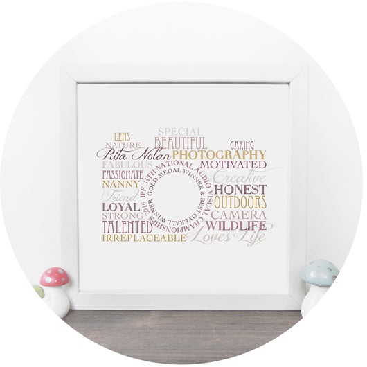 Personalised Camera Word Art Print | Little Moo Boutique