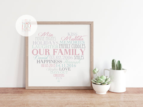 Personalised Family Love Heart Print