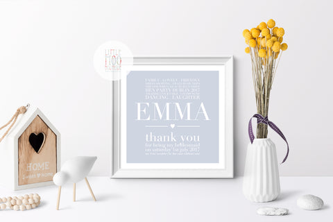 Personalised Thank You Bridesmaids Print