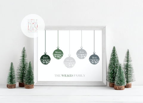 Personalised Baubles Print