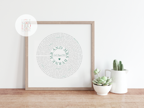 Personalised Record Word Art Print