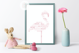 Personalised Flamingo Word Art Print