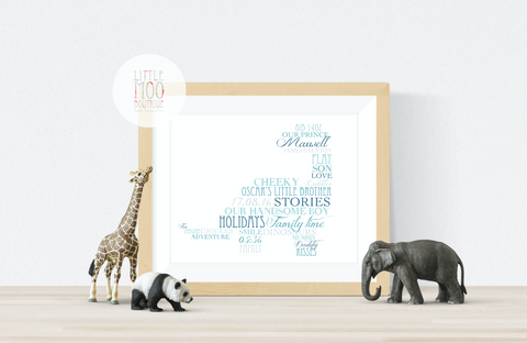 Personalised Dinosaur Word Art Print