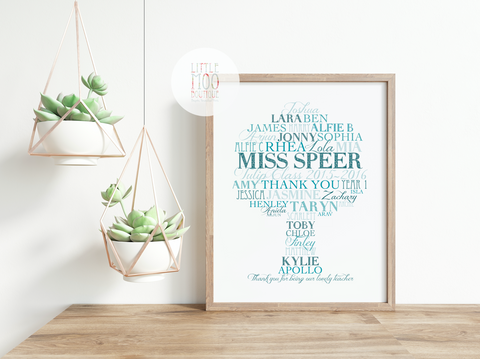 Personalised Teacher Tree Word Art Print